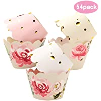 BAKHUK 54pcs Floral Cupcake Wrappers in 6 Patterns, Adjustable Double Side Wrapper for Wedding, Birthday, Baby Girl Shower Decoration, Pink and Gold Party Supplies