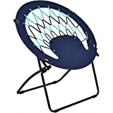 Giantex Folding Round Bungee Chair Steel Frame Camping Hiking Garden Patio (Blue)