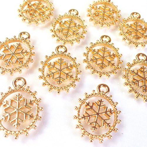 ふわきら雪の結晶 ゴールド 4個 カン付きチャーム アクセサリーパーツ ハンドメイド 手芸材料