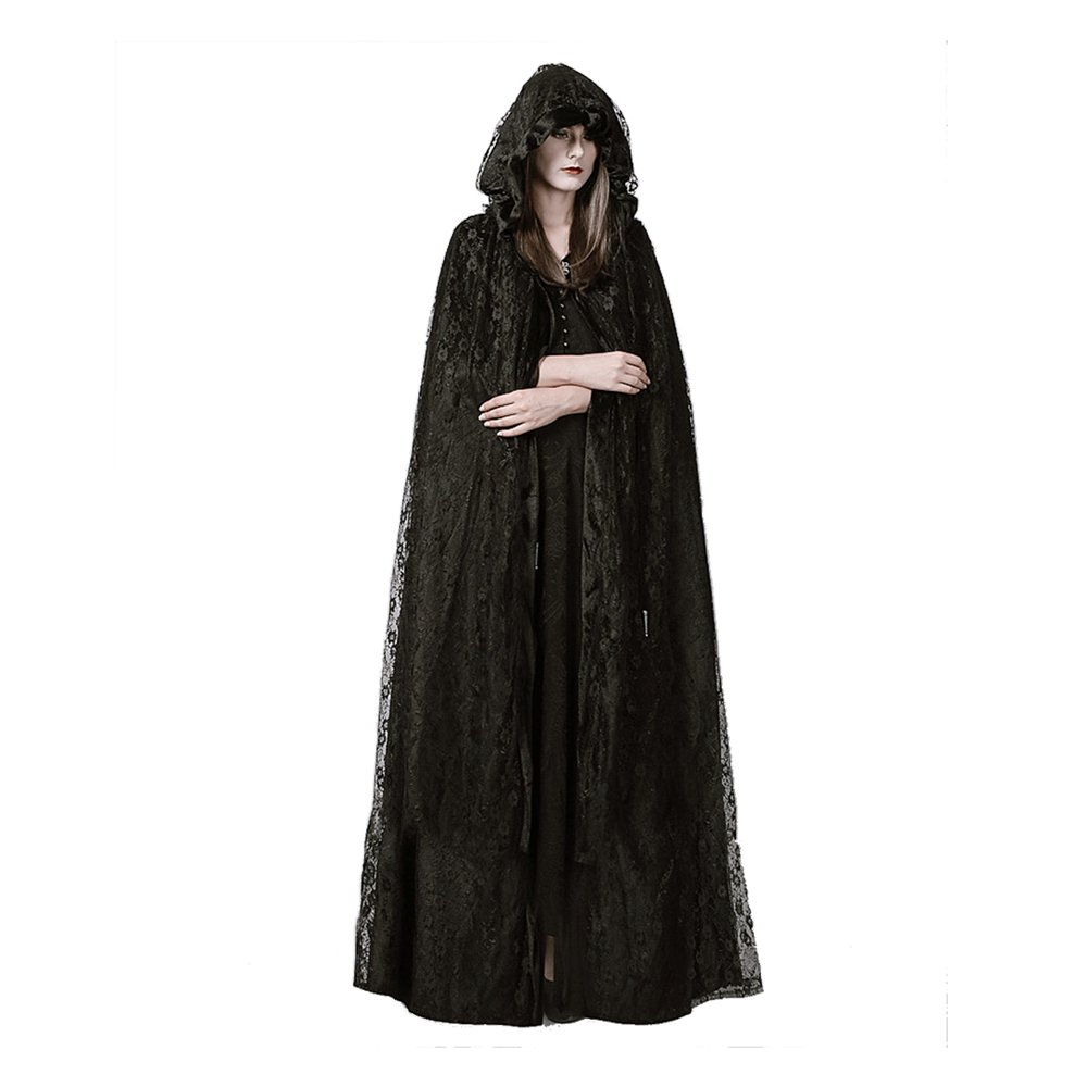Fantasy Closet Womens Hooded Cape Mid-Length Split Front Cloak