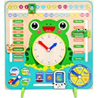 HEITIGN Frog Calendar Clock, Kids Wooden Calendar Board Clock Toy, Children Preschool Educational Learning Toy Days Dates Months Weather Season Time Toys Gifts