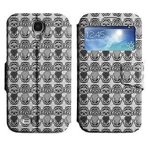 LEOCASE Cráneo Negro Funda Carcasa Cuero Tapa Case Para Samsung Galaxy S4 I9500 No.1001745