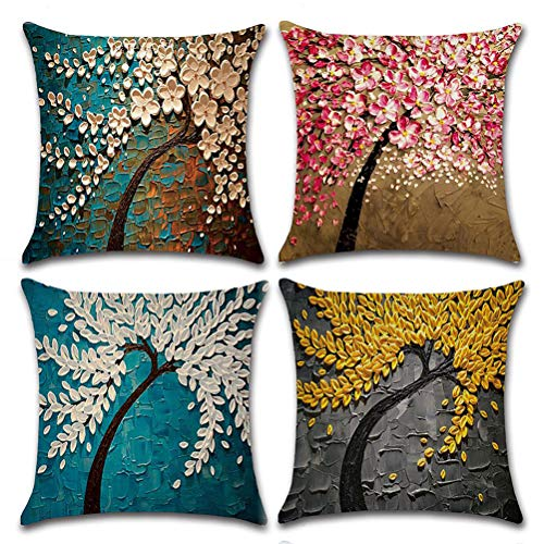 "7ColorRoom 4 Pack Oil Painting Tree Pillow Cushion Cover Cotton Linen Decorative Throw Pillow Covers 18"" x 18"" Pillow Cases Inch for Outdoor and Indoor Use (Oil ()"
