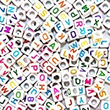 """Goodlucky365 500pcs Mixed White Acrylic Plastic Beads With Colorful Letters/ Alphabet Letter """"A-z"""" Cube Beads Size 6x6mm or 1/4"""" for Bracelets,necklaces, Key Chains and Kid Jewelry"""