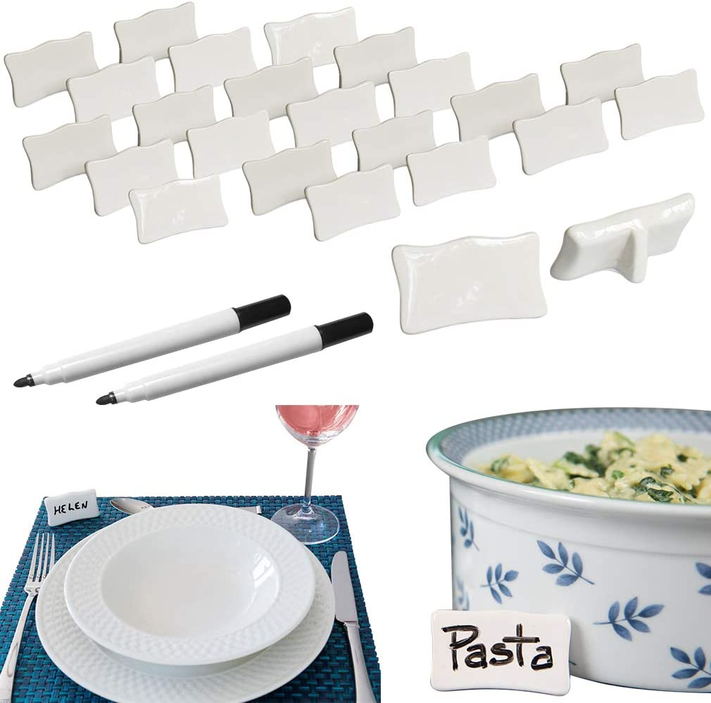 Evelots Place/Name Cards-Porcelain-Reusable-With Marker-Easel Back-26 Piece Set