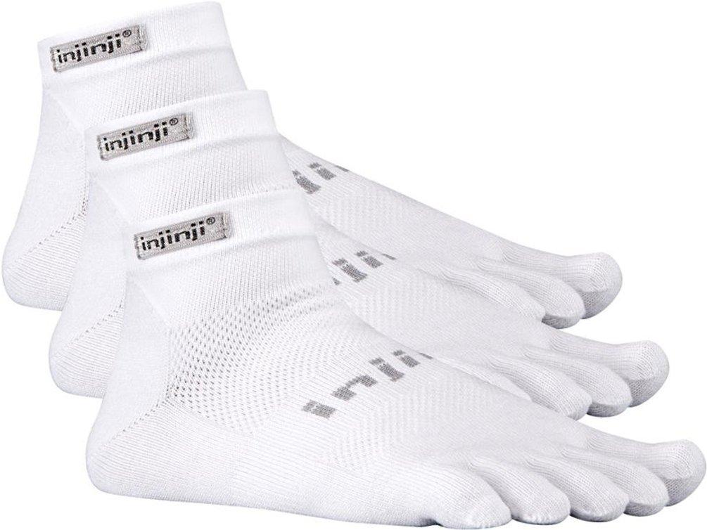 3 Pack Injinji Run Lightweight Mini-Crew Performance Sport Socks h (White, Medium) by Injinji