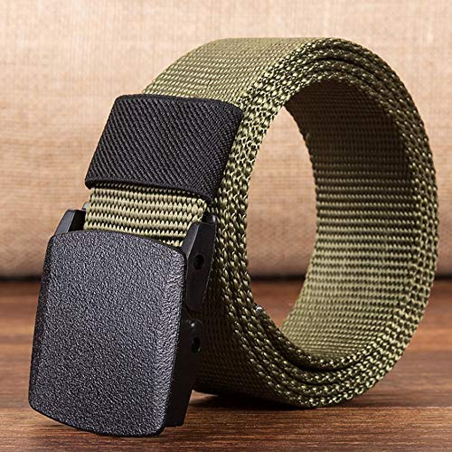 Fofofs Canvas Belt Nylon Canvas Breathable Military Tactical Men's Belt Plastic Buckle Braided Belt 140CM3.8CM (Color : E)