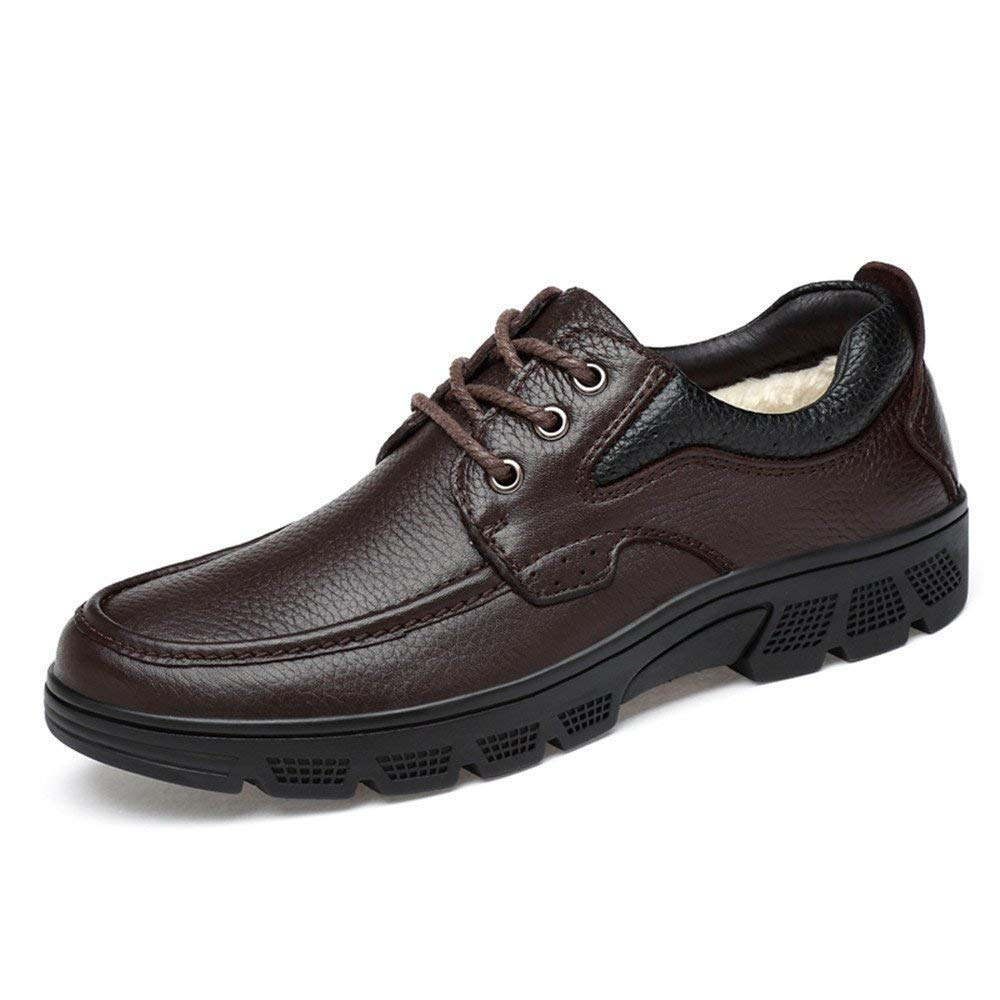 FuweiEncore 2018 Herrenmode Oxford Schuhe, Casual Weichen Aseismatic Light Belt Outsole Formale Schuhe (warme SAMT optional) (Farbe   Warm schwarz, Größe   37 EU) (Farbe   Warm braun, Größe   37 EU)