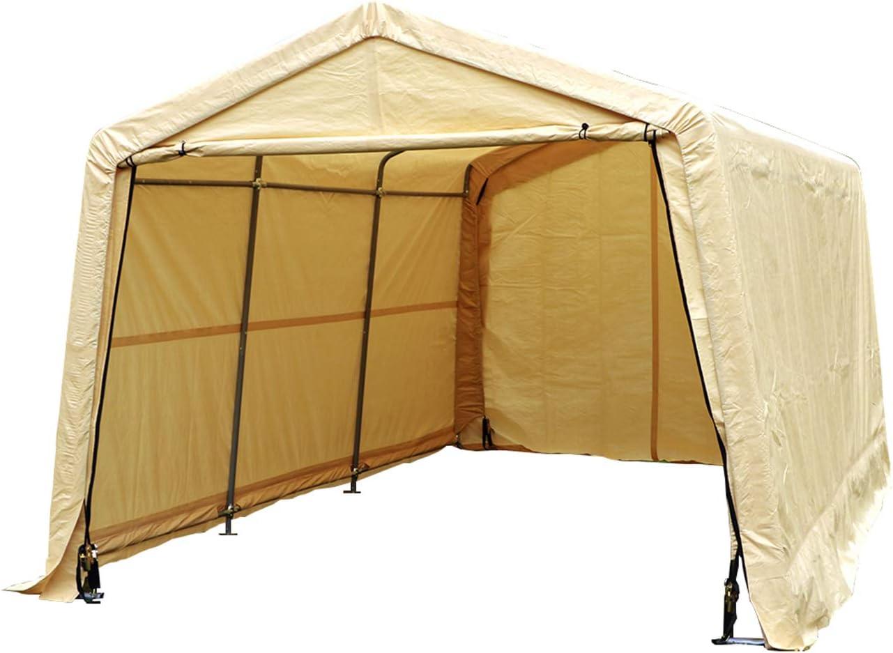 WALCUT Carport Garage Car Canopy Tent for Patio Garden Storage Large Portable Heavy Duty Grey 10 x 10 x 8 Feet Peak Roof Auto Shelter Outdoor Sheds