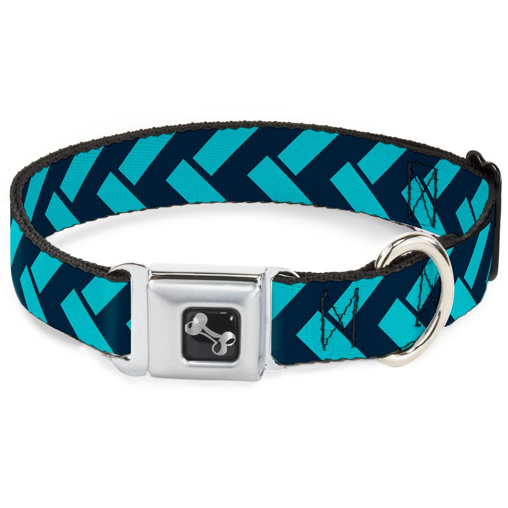Buckle-Down Seatbelt Buckle Dog Collar Jagged Chevron Navy Turquoise 1  Wide Fits 11-17  Neck Medium
