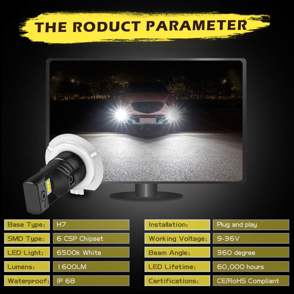 80W // 1600LM // 6000K versi/ón actualizada 3 a/ños de garant/ía KaTur Automobile LED Xenon Blanco PSX24 Drving Fog Luces de circulaci/ón Diurna L/ámparas DRL con Top Advanced CSP LED Chips