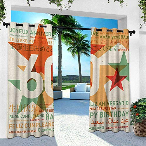 leinuoyi 58th Birthday, Outdoor Curtain Extra Wide, World Cities Birthday Party Theme with Abstract Stars Print, Set for Patio Waterproof W120 x L108 Inch Green Vermilion and White]()