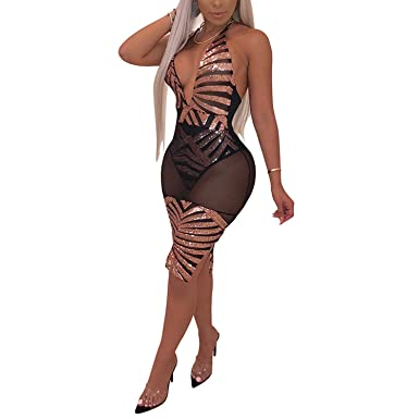 01bdb8a6046 Club Outfits Split Sleeveless Backless See Through Mini Dress Bodycon Black  S