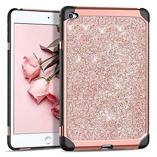 BENTOBEN Case for iPad Mini 4, Glitter Bling Sparkly Protective Cases, Super Slim Lightweight Shiny Cover, 2 in 1 Heavy Duty Hard PC Cover Soft TPU Shcokproof Case for iPad Mini 4 (2015), Rose Gold