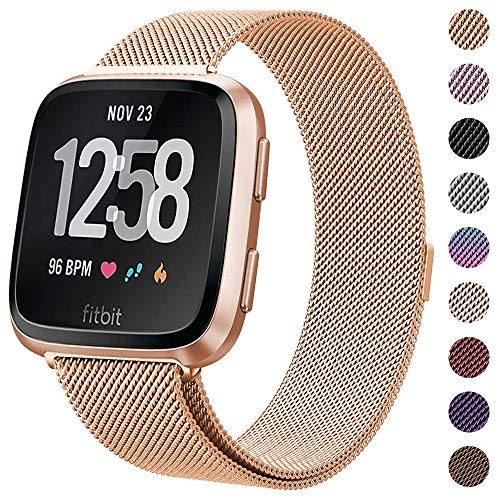 (CAVN Compatible Fitbit Versa Bands for Women Men, Replacement Milanese Loop Metal Stainless Steel Wristband Accessories Compatible Fitbit Versa Smart Watch (S(5.1''-7.9