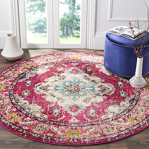 Safavieh Monaco Collection MNC243D Vintage Oriental Bohemian Pink and Multi Distressed Round Area Rug (9' in Diameter)