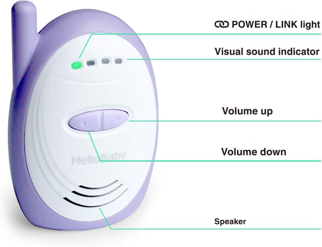 HelloBaby HB168 Audio Moniteur de B/éb/é Num/érique avec une Port/ée Allant Jusqu/à 1000 Pieds Pourpre