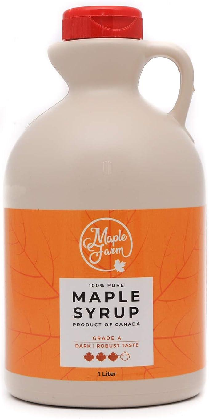 ⭐Jarabe de arce Grado A (Dark, Robust taste) - 1 litro (1,35 Kg) - Miel de arce - Sirope de Arce - Original maple syrup