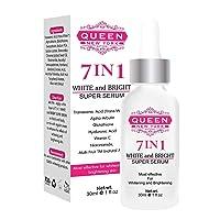 QUEEN NATURAL NEW YORK   7in1 White and Bright Super Serum-5% Tranexamic Acid,5% Kojic Acid,2% Alpha arbutin-Dark Spot Remover Melasma Treatment Cruelty Free Anti Aging Vegan (7in1)