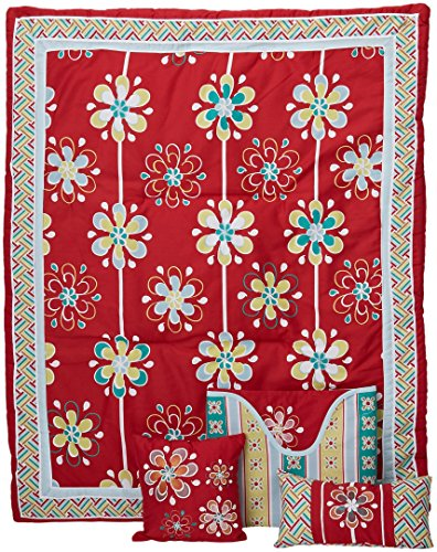 DK Leigh Nursery Crib Bedding Set, Red Graphic Floral, 7 ...