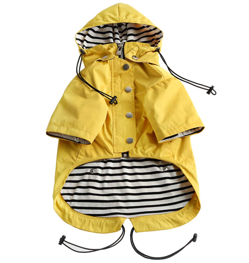 Dog Zip Up Dog Raincoat with Reflective Buttons, Rain/Water Resistant, Adjustable Drawstring, Removable Hood, Stylish Premium Dog Raincoats - Size XS to XXL Available - Yellow - Medium