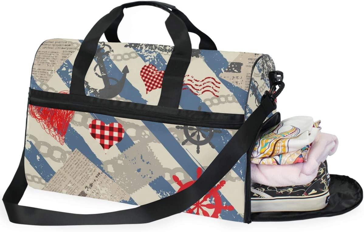 FAJRO Gym Bag Travel Duffel Express Weekender Bag Grunge Nautical Pattern Photos Carry On Luggage with Shoe Pouch