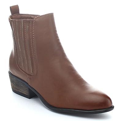 SADIE-01 Women's Side Zipper Block Heel Elastic Riding Ankle Boots Color:CHESTNUT Size:5.5