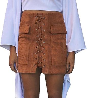 Minetom Mujeres Moda Vintage Primavera Verano Faux Suede Lace-Up ...