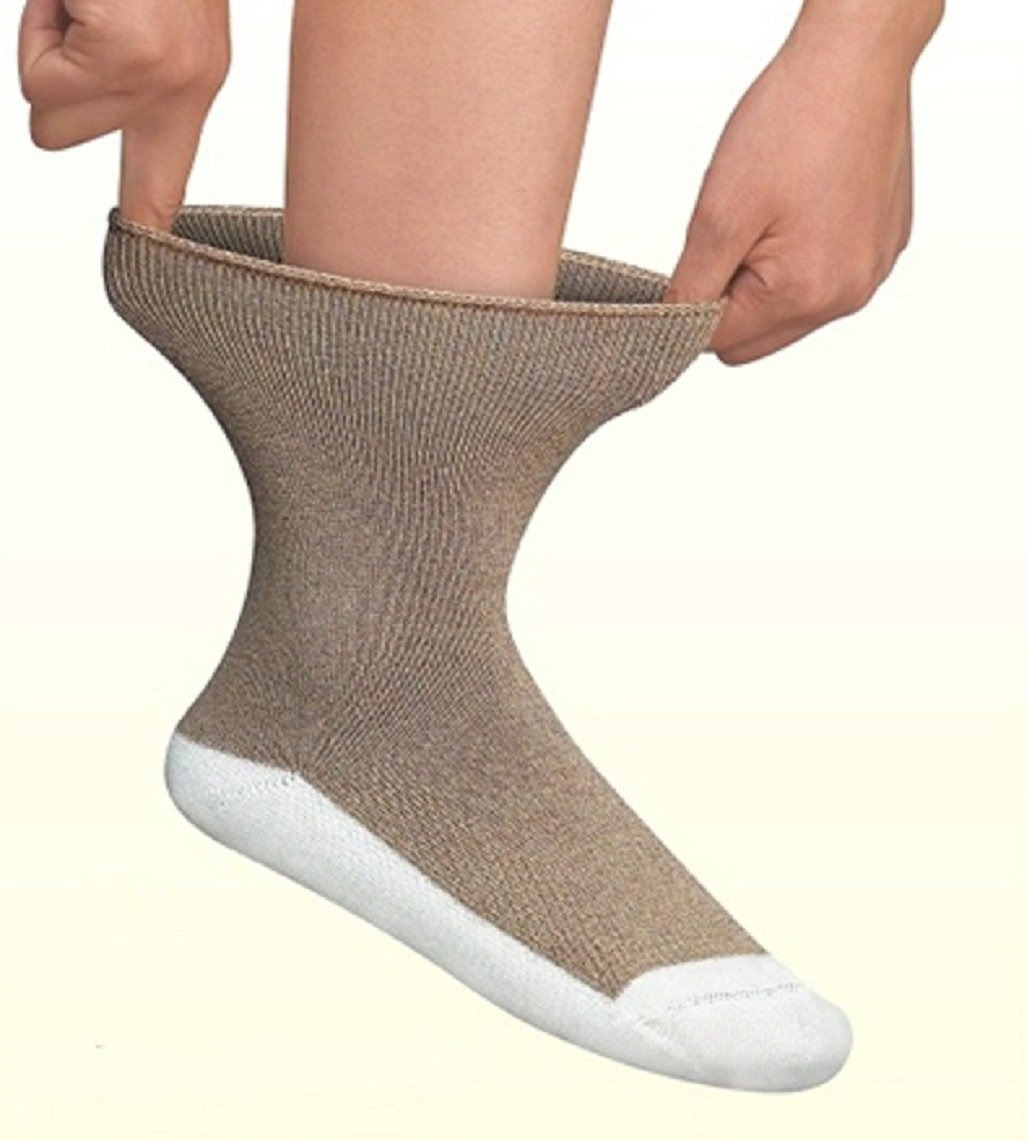Orthofeet Padded Sole Non-Binding Non-Constrictive Circulation Seam Free Bamboo Socks Dark Brown, 3 Pack Extra Large