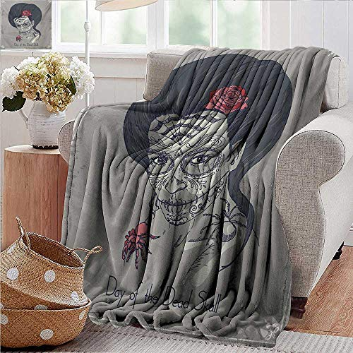 XavieraDoherty Beach Blanket,Day of The Dead,Dia de Los Muertos Skull Girl with Roses Image Print,Charcoal Grey Dimgrey and Pink,Cozy and Durable Fabric-Machine Washable 30