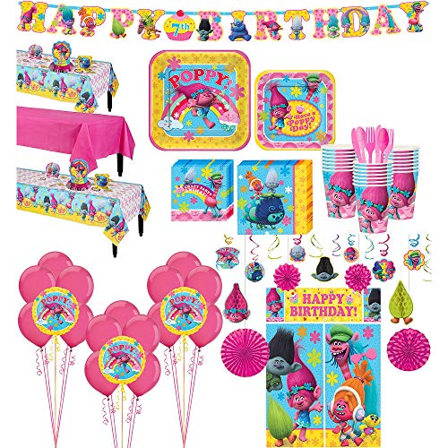 Party City Trolls Tableware Ultimate Kit and Supplies for 24 Guests, Includes Table Covers, Photo Props and Balloons -