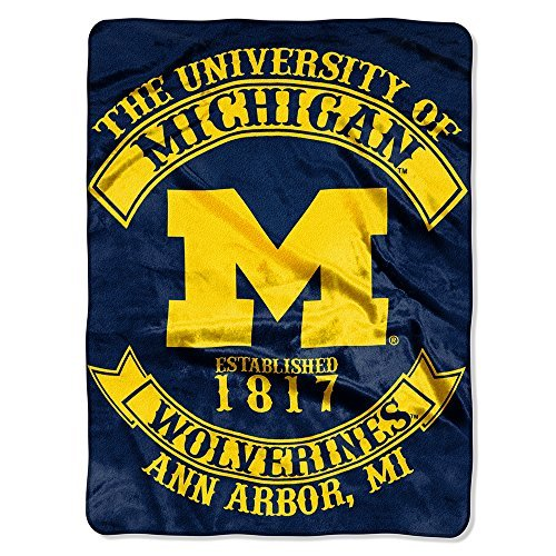 Northwest COL 802 NOR-1COL080200021RET 60 x 80 in. Michigan Wolverines NCAA Royal Plush Raschel Blanket, Rebel Series