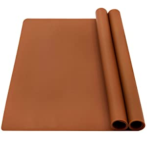 """wellhouse 23.6"""" by 15.7"""" Extra Large Mulitpurpose Silicone Nonstick Pastry Mat Countertop Protector Heat Resistant Nonskid Table Mat(Coffee)"""