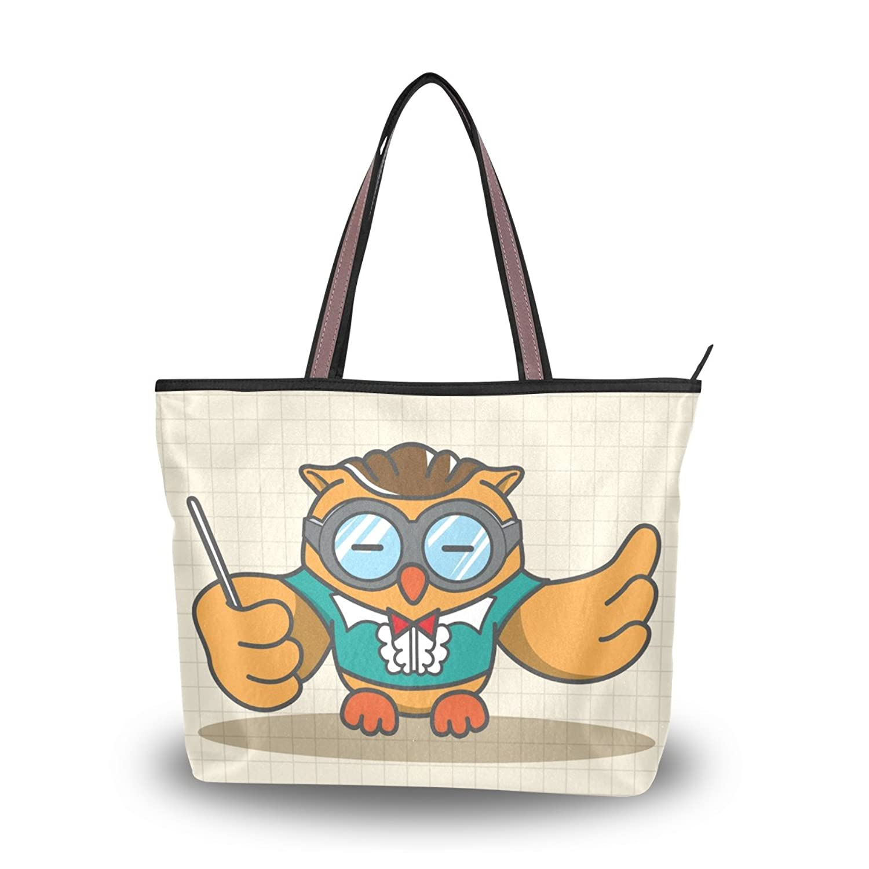 Cute Cartoon Music Note Owl,Large Shopping Handbag School Book Tote Bag