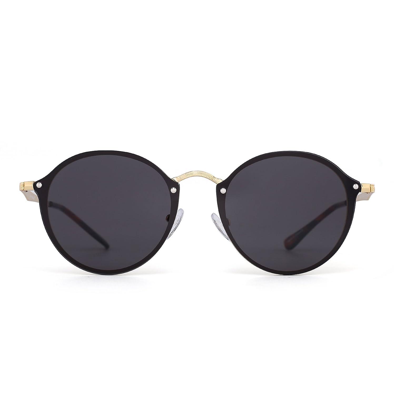 Gafas de Sol Sin Marco Redondo de Espejo Retro Pequeño Circulo Plano Lente Hombre Mujer