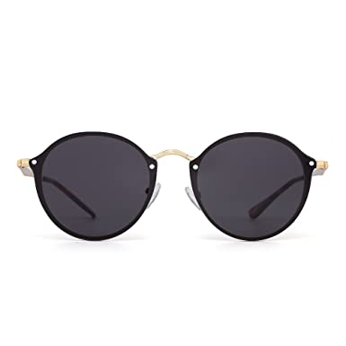 Polarisiert Klein Rund Sonnenbrille Retro Spiegel Kreis Linse Metall Rahmen Damen Herren(Gold/Polarisiertes Blau) 5JC0k