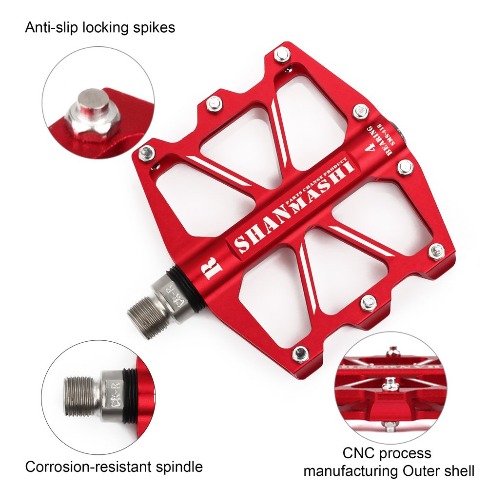 9//16 Inch Aluminum CNC 4 Sealed Bearing Flat Platform Outdoor Cycling MTB Parts BIKEIN PRO Bicycle BMX Mountain Bike Pedals