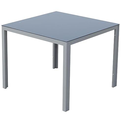 Gartentisch alu 90x90  Amazon.de: Outsunny Gartentisch mit Glasplatte, Aluminium, grau ...