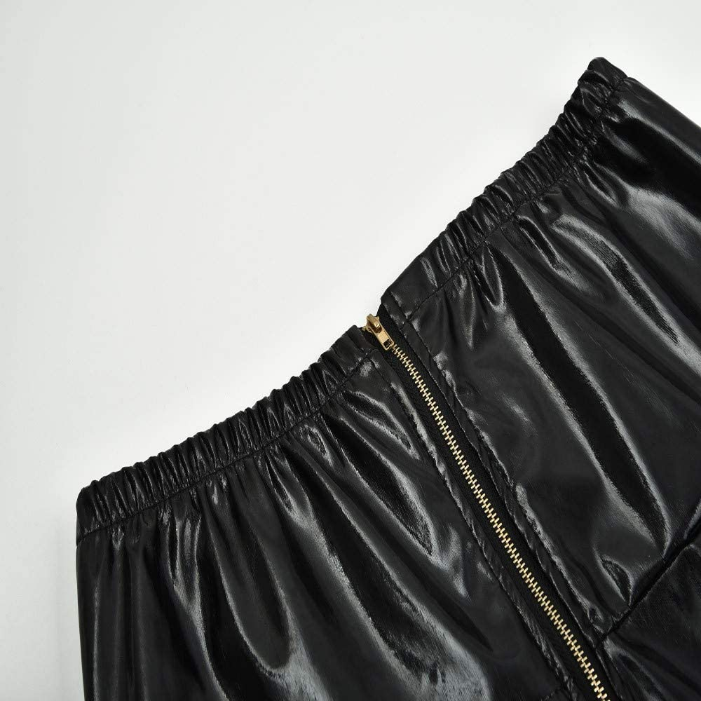 JUSHINI Yoga Hosen Damen Beil/äufig draussen Bleistifthose Frauen Kunstlederhose Slim Fit Leggings Skinny Zipper Faux Leather Shiny Pants Trousers Glatte Hose Einfarbig Komfortabel Stoffhose