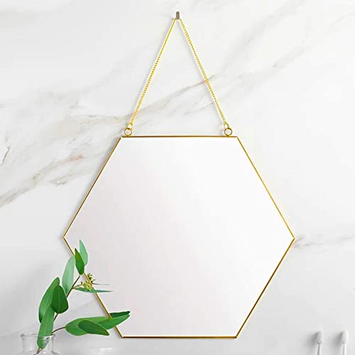 CoolXuan Hanging Mirror Golden Large Wall Mounted Makeup Mirror with Chain for Home Decor in Entryway Living Room Bathroom Bedroom Hexagon, L