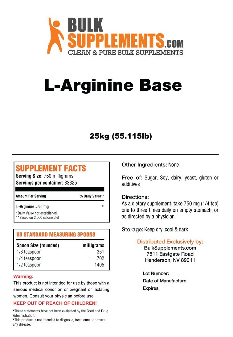 BulkSupplements L-Arginine Base Powder (25 Kilograms)