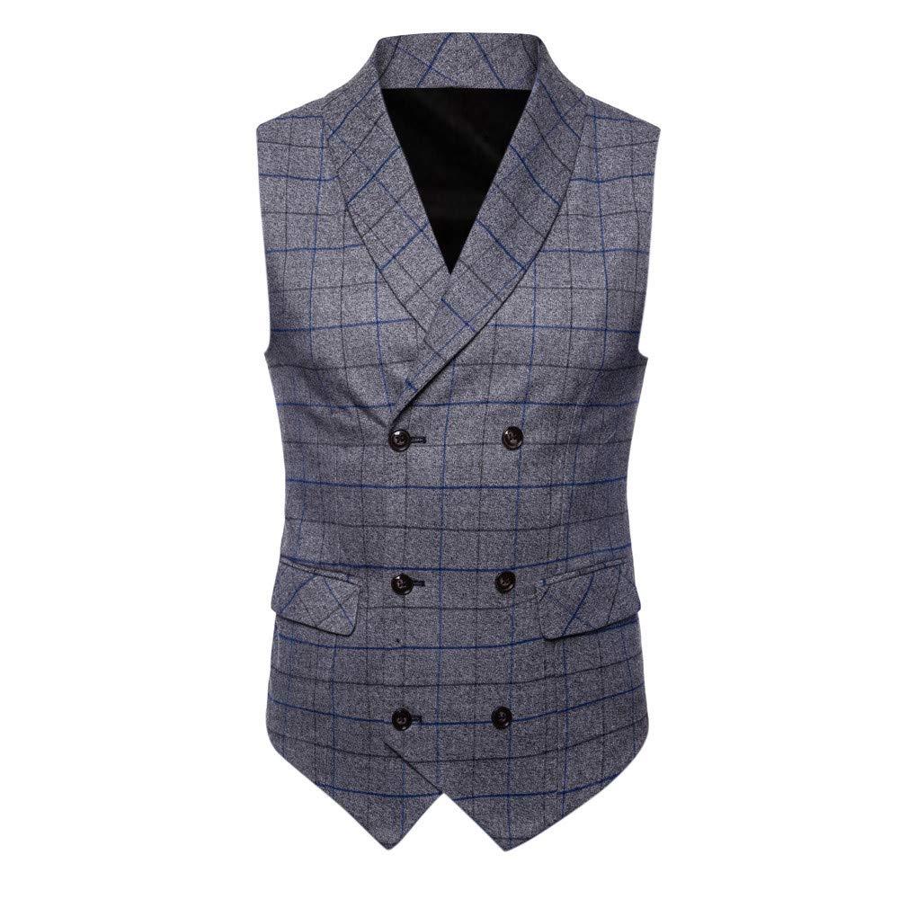 b02bcb6842e37 Vests MODOQO Mens Suit Vest Double-Breasted Slim Fit Skinny Wedding Waistcoat  Jacket MODOQO-Men  s ...
