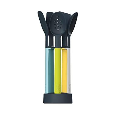Joseph Joseph 10176 Elevate Silicone Kitchen Utensil Set with Compact Storage Stand, Opal