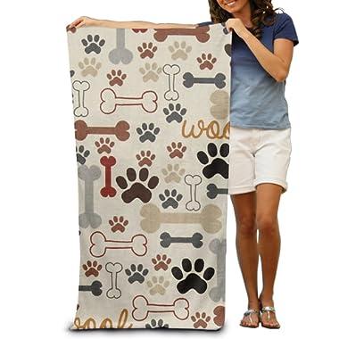 Uikea Dog's Paw Print Microfiber Bath Towel / Beach Towel For Adults