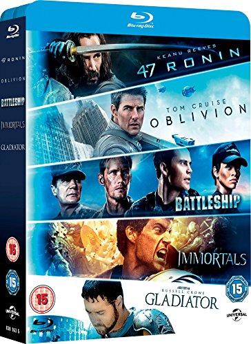 Oblivion/Battleship/Immortals/Gladiator/47 Ronin - 5 Movies Blu-ray Set