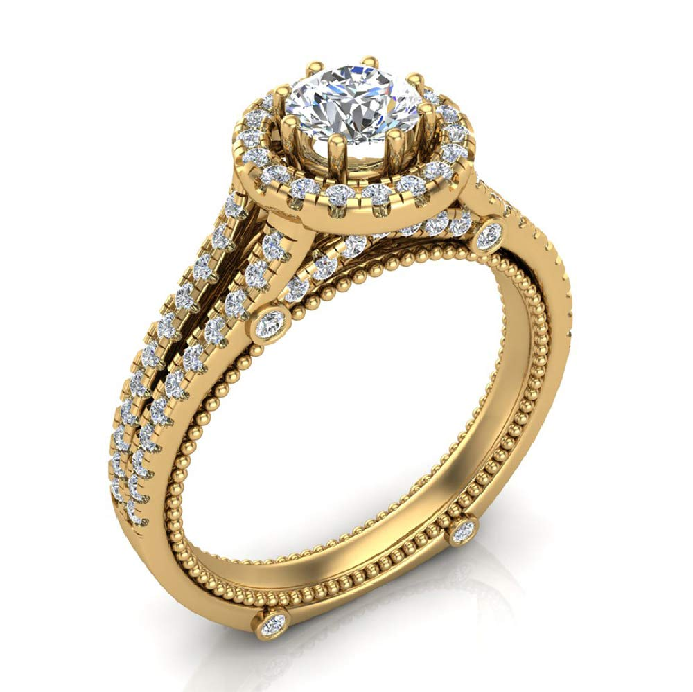 1.00 ct tw Vintage Look 14K Yellow Gold Split Shank Diamond Engagement Ring (Ring Size 6.5) by Glitz Design