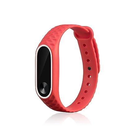 WindTeco Correa Xiaomi Mi Band 2, Silicona Repuesto Pulsera Recambio Reloj Banda Extensibles Correa Reemplazo para Xiaomi Mi Banda 2 (Sin Rastreador ...