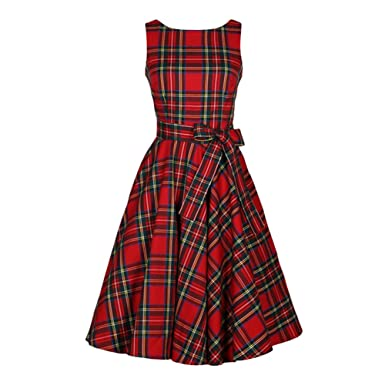Lurdarin Womens Round Neck Sleeveless Plaid Vintage Hepburn Cocktail Party Evening Swing Dresses