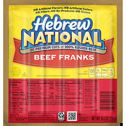 - Hebrew National Beef Franks, 10.3 Ounce, 6 Count