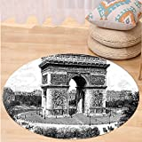 VROSELV Custom carpetVintage Old Photo of Auguste Vitu Monument in Paris French Heritage Retro Picture for Bedroom Living Room Dorm Black and White Round 72 inches